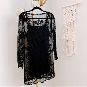 Divided Black Floral Lace Mini Dress